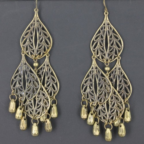 1 pair of Bronze Coloured Vintage Style Filigree Drop Earrings