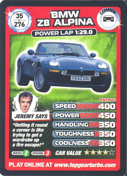 Top Gear Turbo Challenge Card 35 Bmw Z8 Alpina