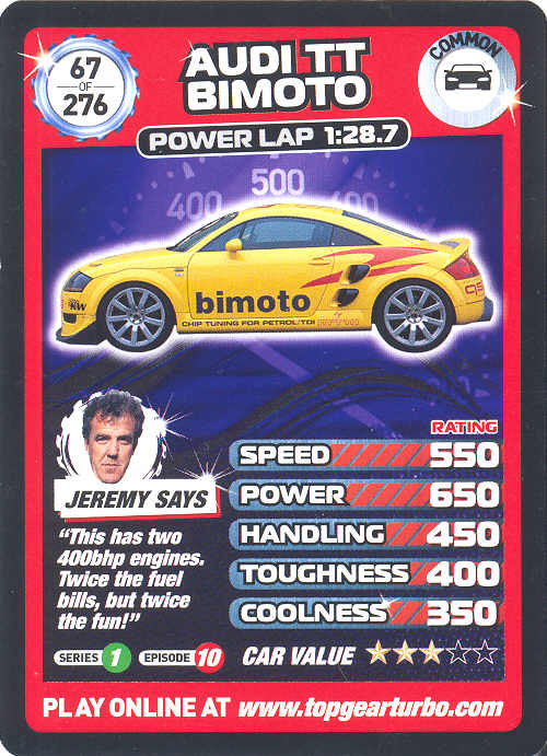 Top Gear Turbo Challenge Card 67 Audi Tt Bimoto