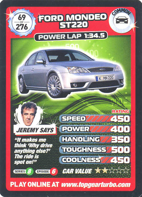 Top Gear Turbo Challenge Card 69 Ford Mondeo St220
